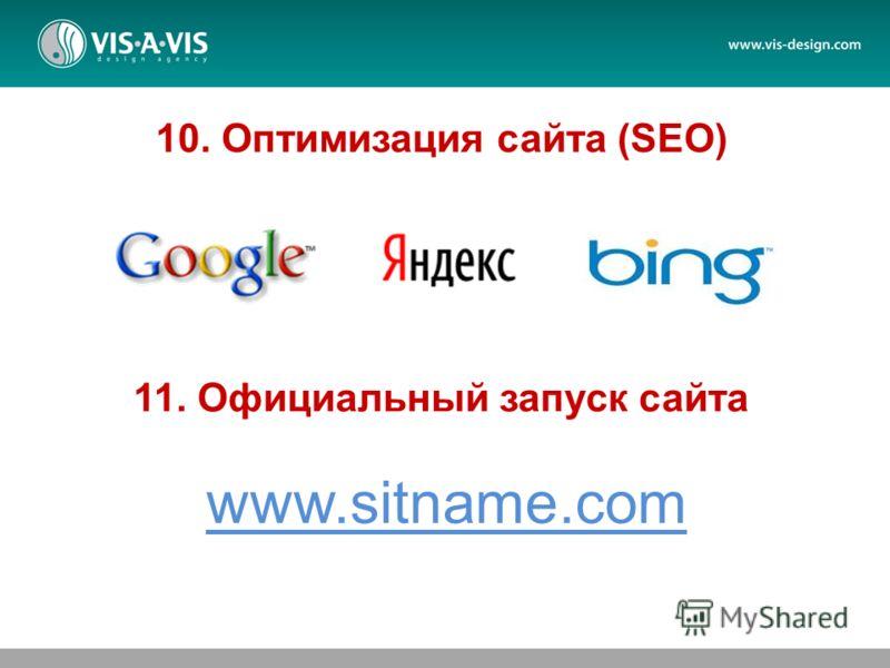 10. Оптимизация сайта (SEO) 11. Официальный запуск сайта www.sitname.com