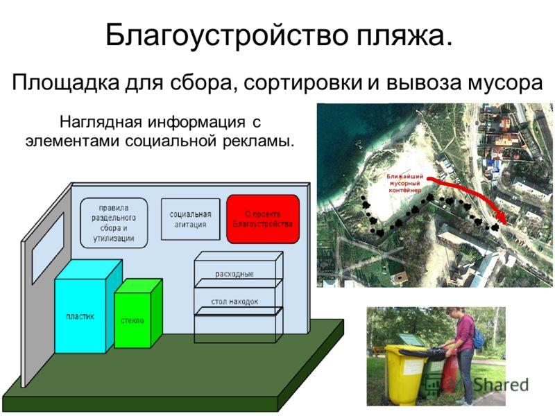 Благоустройство пляжа. Площадка для сбора, сортировки и вывоза мусора Наглядная информация с элементами социальной рекламы.