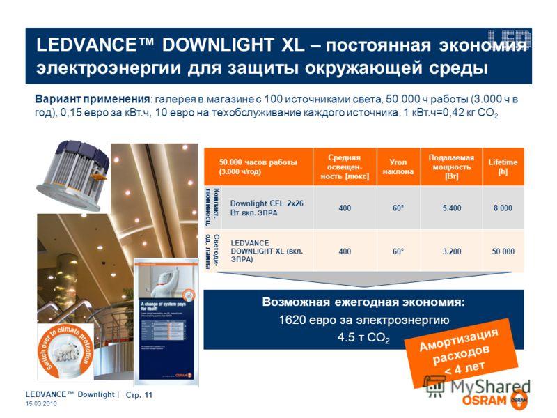 LEDVANCE Downlight | Page 11 15.03.2010 LEDVANCE DOWNLIGHT XL – постоянная экономия электроэнергии для защиты окружающей среды Возможная ежегодная экономия: 1620 евро за электроэнергию 4.5 т CO 2 Вариант применения: галерея в магазине с 100 источника