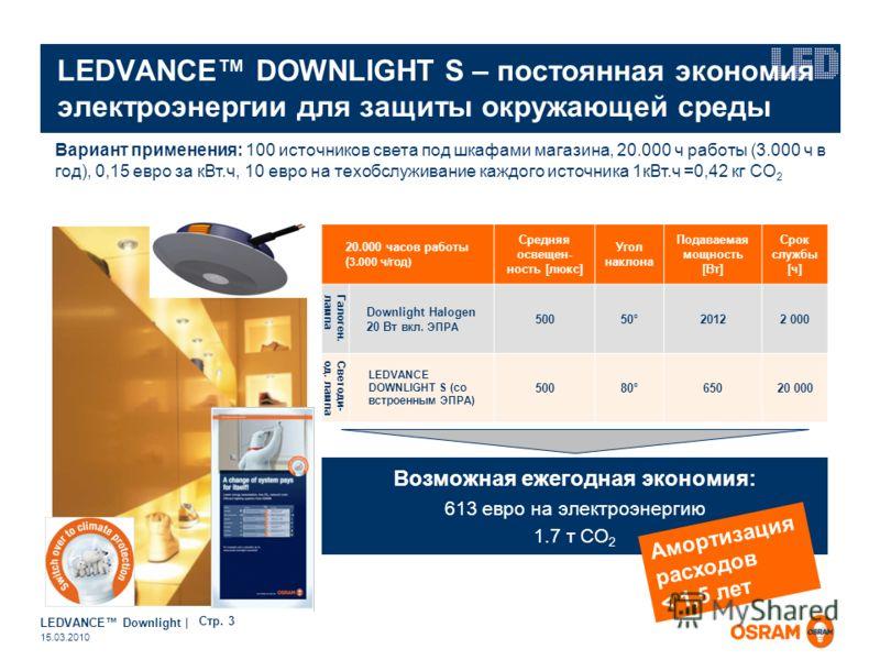 LEDVANCE Downlight | Page 3 15.03.2010 LEDVANCE DOWNLIGHT S – постоянная экономия электроэнергии для защиты окружающей среды Возможная ежегодная экономия: 613 евро на электроэнергию 1.7 т CO 2 Вариант применения: 100 источников света под шкафами мага