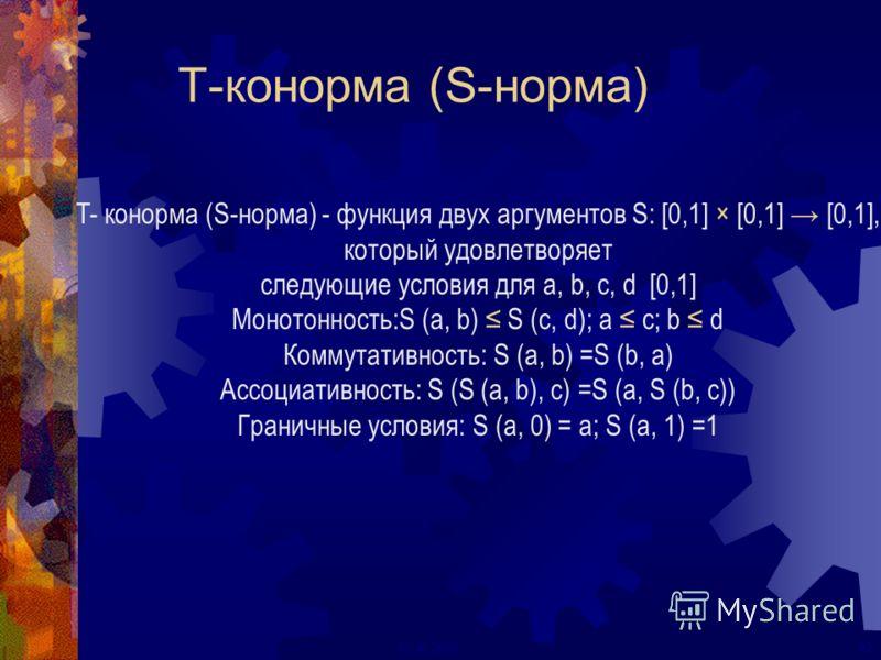 22ECAI 2000 T-конорма (S-норма) T- конорма (S-норма) - функция двух аргументов S: [0,1] × [0,1] [0,1], который удовлетворяет следующие условия для a, b, c, d [0,1] Монотонность:S (a, b) S (c, d); a c; b d Коммутативность: S (a, b) =S (b, a) Ассоциати