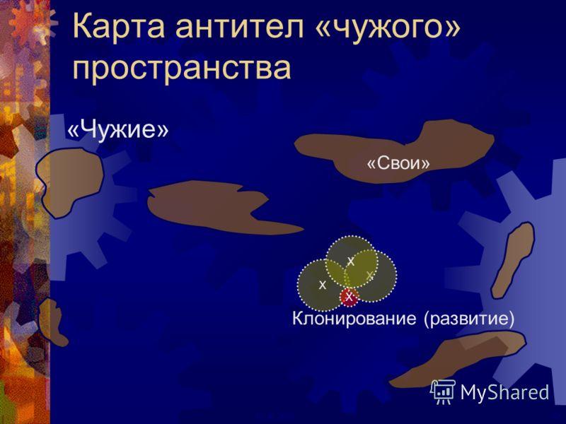 52ECAI 2000 Карта антител «чужого» пространства «Свои» «Чужие» X X Клонирование (развитие) X X