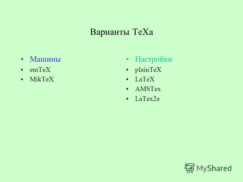 Варианты ТеХа Машины emTeX MikTeX Настройки plainTeX LaTeX AMSTex LaTex2e
