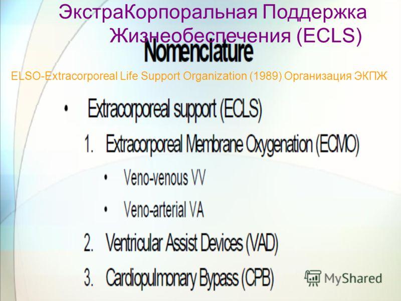 ЭкстраКорпоральная Поддержка Жизнеобеспечения (ECLS) ELSO-Extracorporeal Life Support Organization (1989) Организация ЭКПЖ