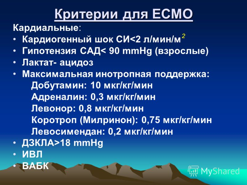 Критерии для ECMO Кардиальные: Кардиогенный шок СИ18 mmHg ИВЛ ВАБК 2