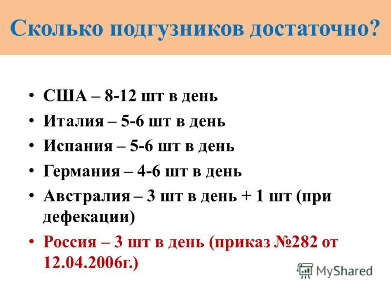 Сколько подгузников достаточно? США – 8-12 шт в день Италия – 5-6 шт в день Испания – 5-6 шт в день Германия – 4-6 шт в день Австралия – 3 шт в день + 1 шт (при дефекации) Россия – 3 шт в день (приказ 282 от 12.04.2006г.)