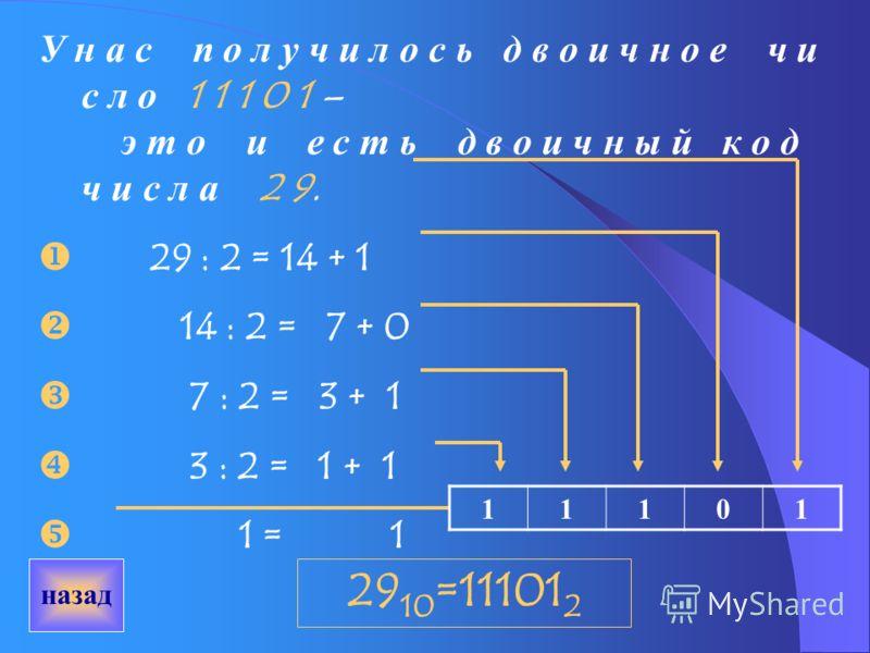 Если какая-то информация представлена в цифровом виде, то компьютер легко превращает числа, которыми она закодирована в последовательности нулей и единиц, а дальше уже работает с ними (двоичными кодами). Пример: 1.Берём, например, число 29. Поскольку