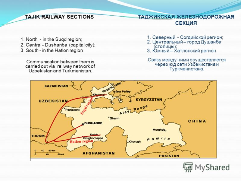 TAJIK RAILWAY SECTIONSТАДЖИКСКАЯ ЖЕЛЕЗНОДОРОЖНАЯ СЕКЦИЯ 1. North - in the Suqd region; 2. Central - Dushanbe (capital city); 3. South - in the Hatlon region Communication between them is carried out via railway network of Uzbekistan and Turkmenistan.