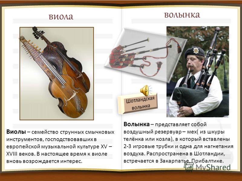 виола волынка Виолы – семейство струнных смычковых инструментов, господствовавших в европейской музыкальной культуре XV – XVIII веков. В настоящее время к виоле вновь возрождается интерес. Волынка – представляет собой воздушный резервуар – мех( из шк