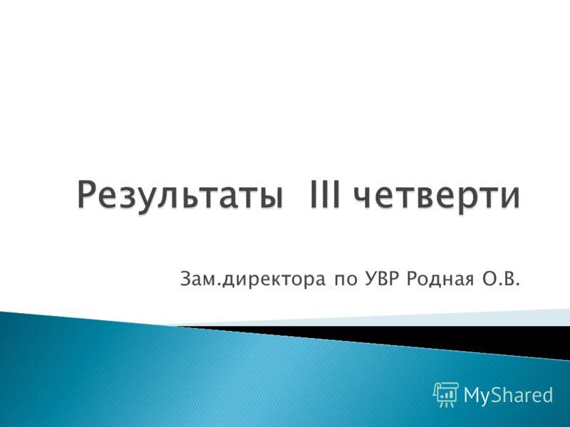 Зам.директора по УВР Родная О.В.