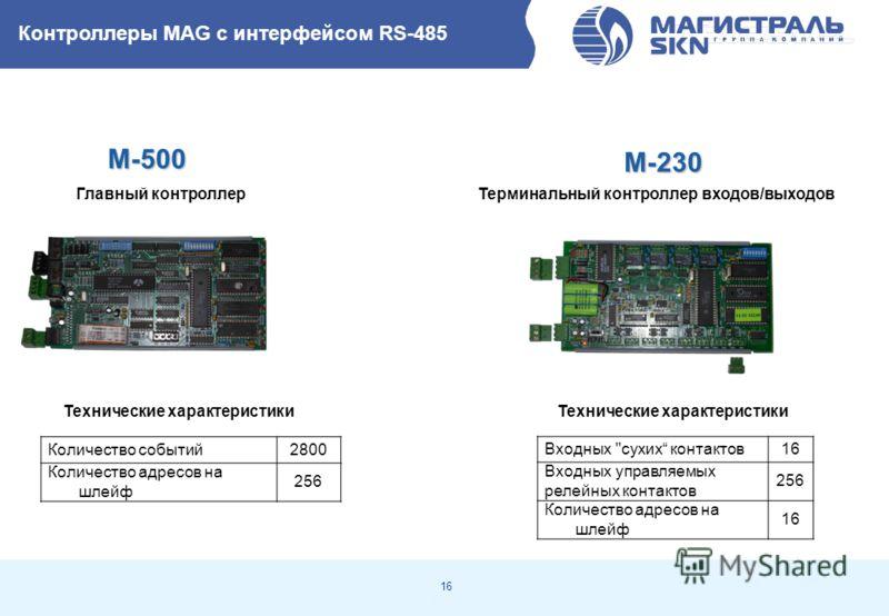 16 Терминальный контроллер входов/выходов Количество событий2800 Количество адресов на шлейф 256 M-500 Главный контроллер Технические характеристики M-230 Контроллеры MAG с интерфейсом RS-485 Входных