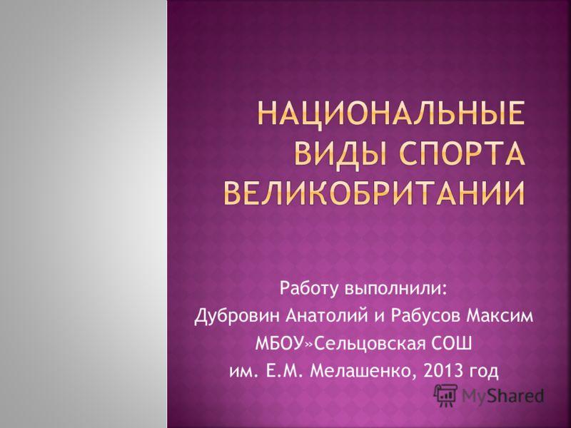 Работу выполнили: Дубровин Анатолий и Рабусов Максим МБОУ»Сельцовская СОШ им. Е.М. Мелашенко, 2013 год