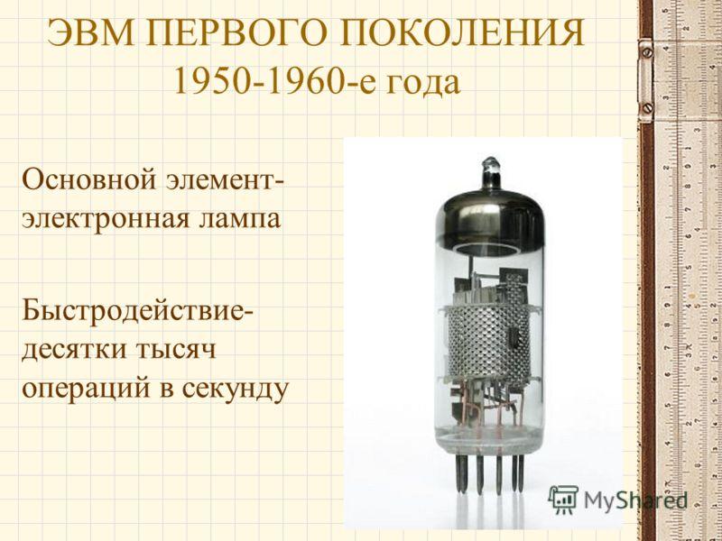 ЭВМ ПЕРВОГО ПОКОЛЕНИЯ 1950-1960-е года Основной элемент- электронная лампа Быстродействие- десятки тысяч операций в секунду