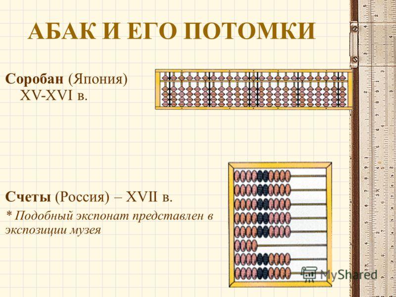 АБАК И ЕГО ПОТОМКИ Соробан (Япония) XV-XVI в. Счеты (Россия) – XVII в. * Подобный экспонат представлен в экспозиции музея