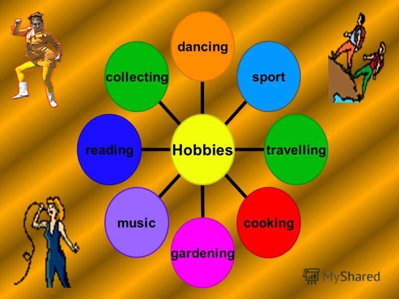 Hobbies dancingsporttravellingcookinggardeningmusicreadingcollecting