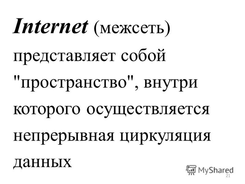 21 Internet (межсеть) представляет собой пространство, внутри которого осуществляется непрерывная циркуляция данных