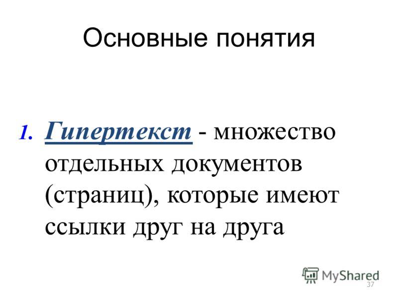 Основные понятия 37 1. Гипертекст - множество отдельных документов (страниц), которые имеют ссылки друг на друга