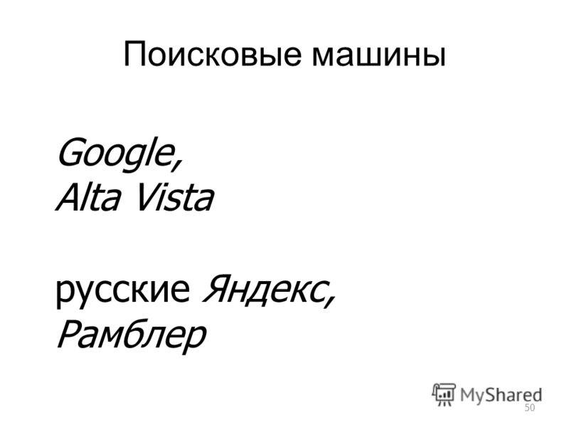 Поисковые машины 50 Google, Alta Vista русские Яндекс, Рамблер