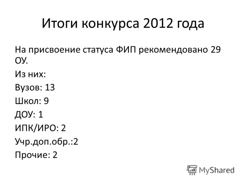 Итоги конкурса 2012 года На присвоение статуса ФИП рекомендовано 29 ОУ. Из них: Вузов: 13 Школ: 9 ДОУ: 1 ИПК/ИРО: 2 Учр.доп.обр.:2 Прочие: 2