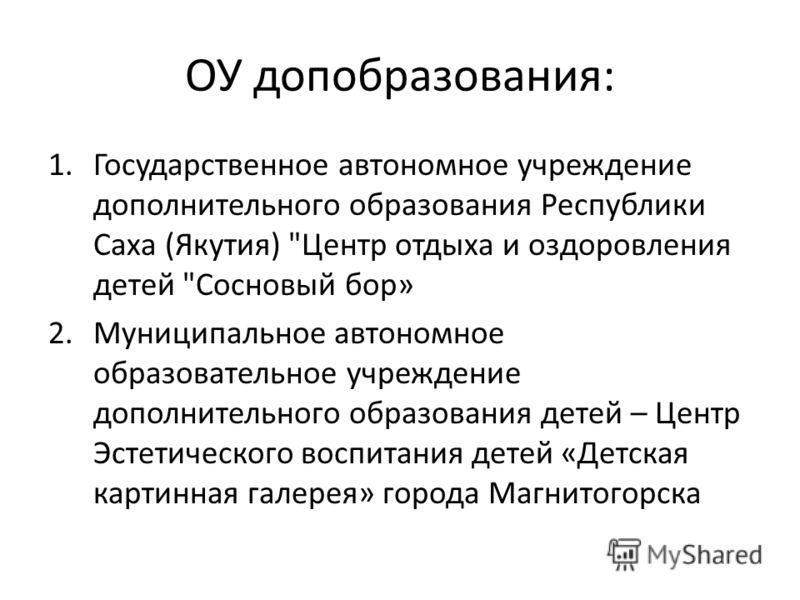 ОУ допобразования: 1.Государственное автономное учреждение дополнительного образования Республики Саха (Якутия)
