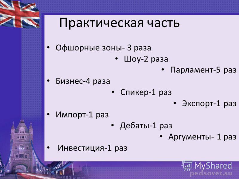 Практическая часть Офшорные зоны- 3 раза Шоу-2 раза Парламент-5 раз Бизнес-4 раза Спикер-1 раз Экспорт-1 раз Импорт-1 раз Дебаты-1 раз Аргументы- 1 раз Инвестиция-1 раз