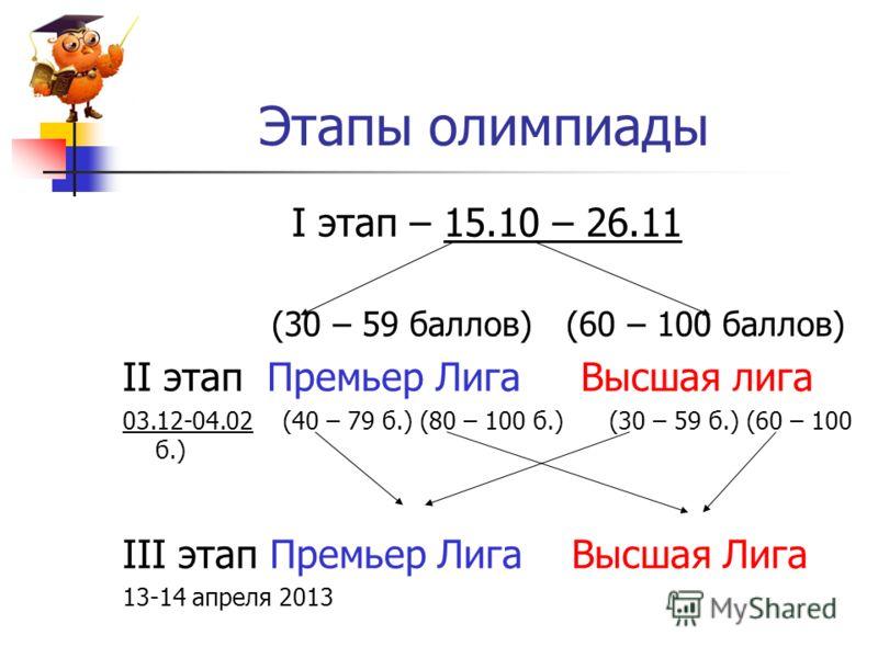Этапы олимпиады I этап – 15.10 – 26.11 (30 – 59 баллов) (60 – 100 баллов) II этап Премьер Лига Высшая лига 03.12-04.02 (40 – 79 б.) (80 – 100 б.) (30 – 59 б.) (60 – 100 б.) III этап Премьер Лига Высшая Лига 13-14 апреля 2013