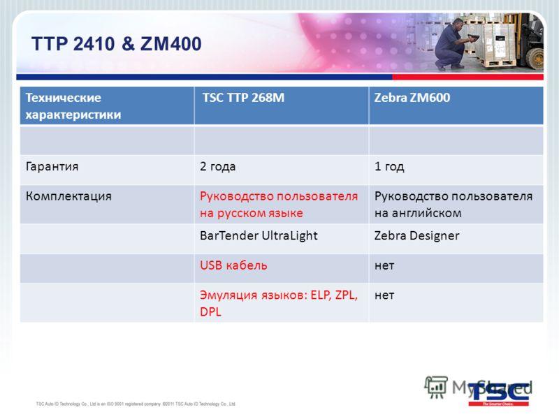 Технические характеристики TSC TTP 268МZebra ZM600 Гарантия2 года1 год КомплектацияРуководство пользователя на русском языке Руководство пользователя на английском BarTender UltraLightZebra Designer USB кабельнет Эмуляция языков: ELP, ZPL, DPL нет TT