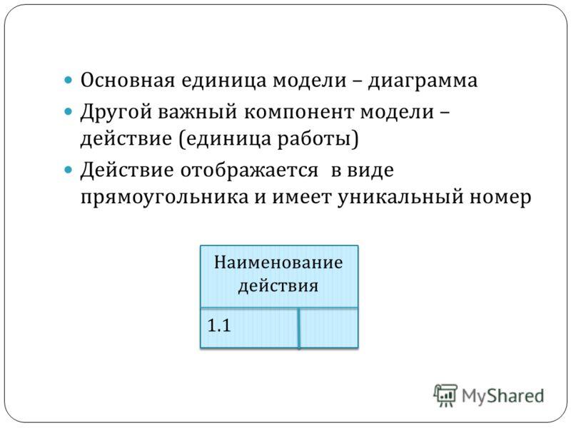 Основная единица модели – диаграмма Другой важный компонент модели – действие (единица работы) Действие отображается в виде прямоугольника и имеет уникальный номер Наименование действия 1.1