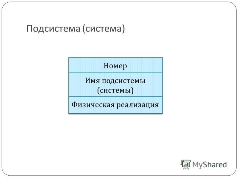 Подсистема (система) Номер Имя подсистемы (системы) Физическая реализация