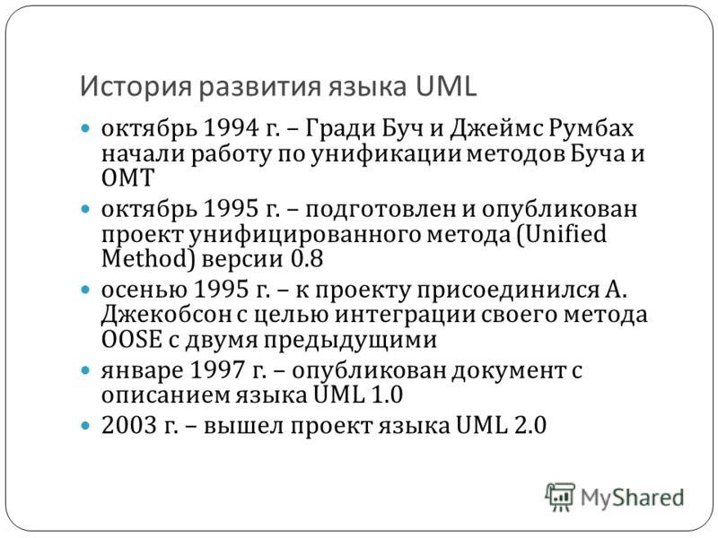 История развития языка UML октябрь 1994 г. – Гради Буч и Джеймс Румбах начали работу по унификации методов Буча и OMT октябрь 1995 г. – подготовлен и опубликован проект унифицированного метода (Unified Method) версии 0.8 осенью 1995 г. – к проекту пр