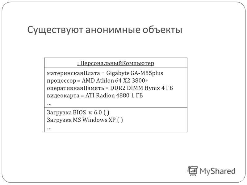 Существуют анонимные объекты : ПерсональныйКомпьютер материнскаяПлата = Gigabyte GA-M55plus процессор = AMD Athlon 64 X2 3800+ оперативнаяПамять = DDR2 DIMM Hynix 4 ГБ видеокарта = ATI Radion 4880 1 ГБ … Загрузка BIOS v. 6.0 ( ) Загрузка MS Windows X