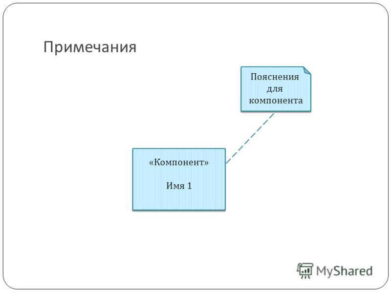 Примечания «Компонент» Имя 1 «Компонент» Имя 1 Пояснения для компонента