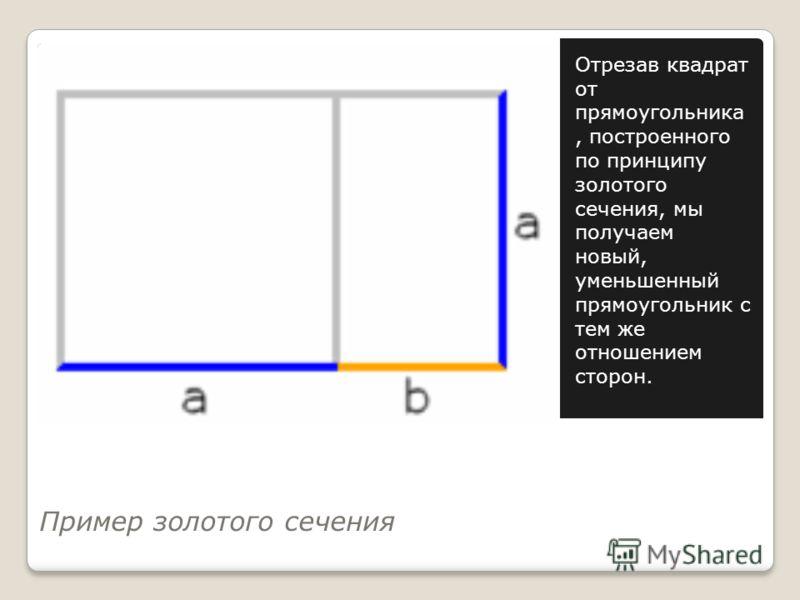 Пример золотого сечения Отрезав квадрат от прямоугольника, построенного по принципу золотого сечения, мы получаем новый, уменьшенный прямоугольник с тем же отношением сторон.