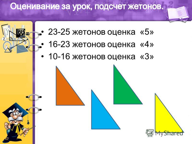 23-25 жетонов оценка «5» 16-23 жетонов оценка «4» 10-16 жетонов оценка «3»