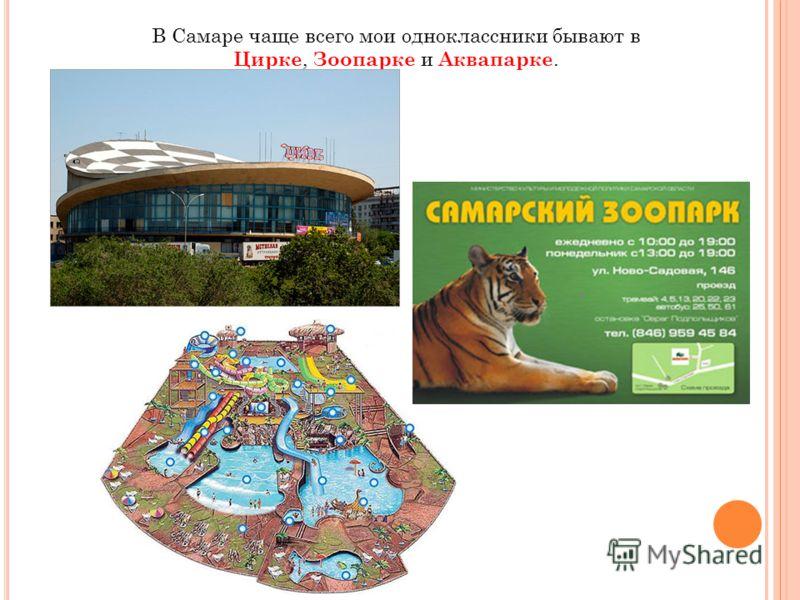 В Самаре чаще всего мои одноклассники бывают в Цирке, Зоопарке и Аквапарке.