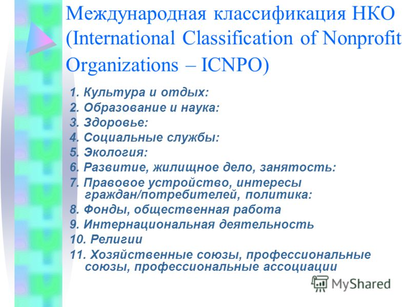 Международная классификация НКО (International Classification of Nonprofit Organizations – ICNPO) 1. Культура и отдых: 2. Образование и наука: 3. Здоровье: 4. Социальные службы: 5. Экология: 6. Развитие, жилищное дело, занятость: 7. Правовое устройст
