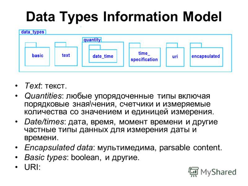 Data Types Information Model Text: текст. Quantities: любые упорядоченные типы включая порядковые зная\чения, счетчики и измеряемые количества со значением и единицей измерения. Date/times: дата, время, момент времени и другие частные типы данных для