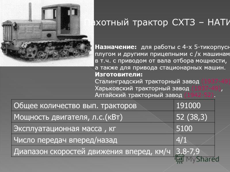 Пахотный трактор СХТЗ – НАТИ Назначение: для работы с 4-х 5-тикорпусным плугом и другими прицепными с /х машинами, в т.ч. с приводом от вала отбора мощности, а также для привода стационарных машин. Изготовители: Сталинградский тракторный завод (1937-