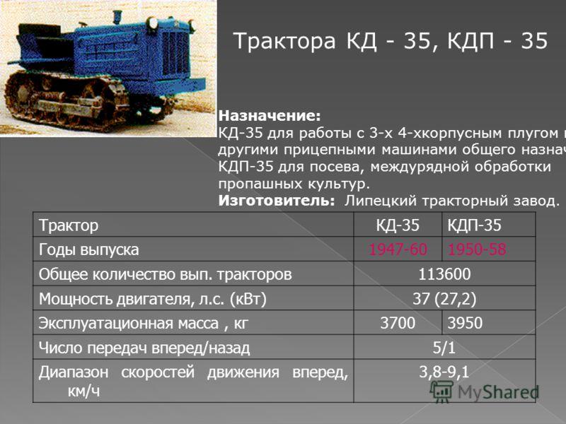 Назначение: КД-35 для работы с 3-х 4-хкорпусным плугом и другими прицепными машинами общего назначения, КДП-35 для посева, междурядной обработки пропашных культур. Изготовитель: Липецкий тракторный завод. Трактора КД - 35, КДП - 35 ТракторКД-35КДП-35