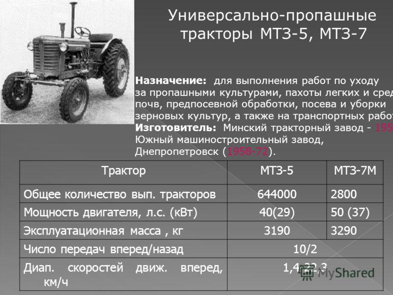 Универсально-пропашные тракторы МТЗ-5, МТЗ-7 Назначение: для выполнения работ по уходу за пропашными культурами, пахоты легких и средних почв, предпосевной обработки, посева и уборки зерновых культур, а также на транспортных работах. Изготовитель: Ми