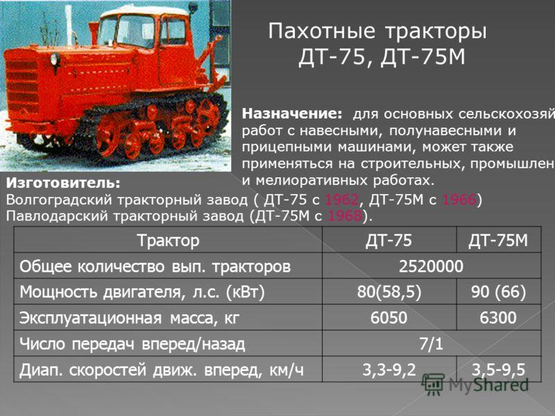 Пахотные тракторы ДТ-75, ДТ-75М Назначение: для основных сельскохозяйственных работ с навесными, полунавесными и прицепными машинами, может также применяться на строительных, промышленных и мелиоративных работах. Изготовитель: Волгоградский тракторны