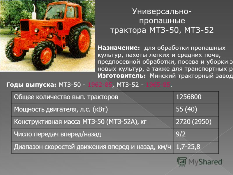 Универсально- пропашные трактора МТЗ-50, МТЗ-52 Назначение: для обработки пропашных культур, пахоты легких и средних почв, предпосевной обработки, посева и уборки зер- новых культур, а также для транспортных работ. Изготовитель: Минский тракторный за