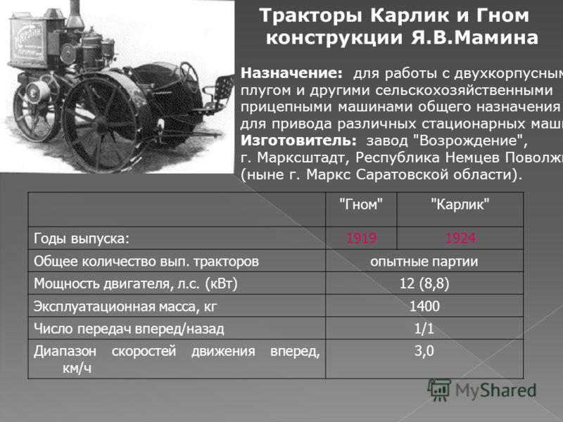 Тракторы Карлик и Гном конструкции Я.В.Мамина