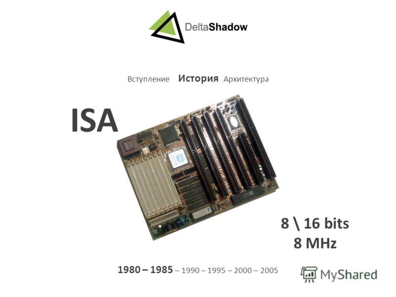 Вступление История Архитектура 1980 – 1985 – 1990 – 1995 – 2000 – 2005 ISA 8 \ 16 bits 8 MHz