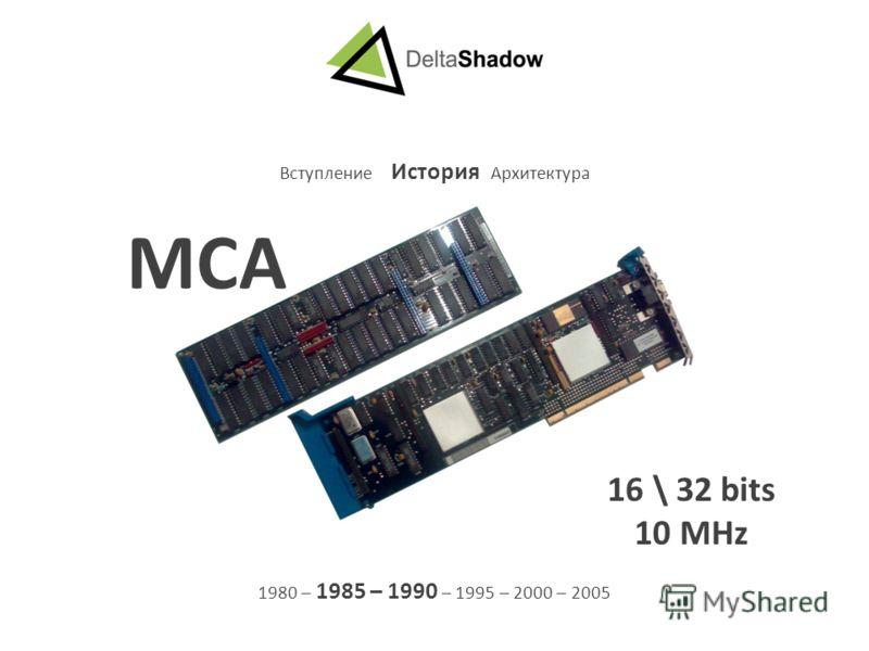 Вступление История Архитектура 1980 – 1985 – 1990 – 1995 – 2000 – 2005 MCA 16 \ 32 bits 10 MHz