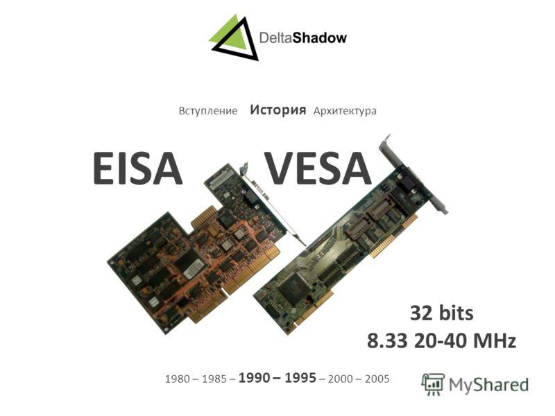 Вступление История Архитектура 1980 – 1985 – 1990 – 1995 – 2000 – 2005 EISA VESA 32 bits 8.33 20-40 MHz