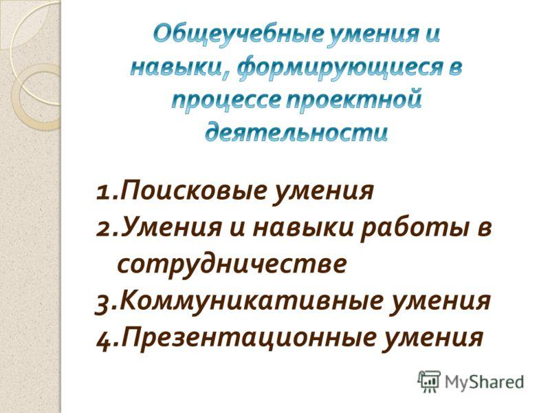 1.Поисковые умения 2.Умения и навыки работы в сотрудничестве 3.Коммуникативные умения 4.Презентационные умения