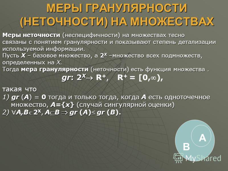 МЕРЫ ГРАНУЛЯРНОСТИ (НЕТОЧНОСТИ) НА МНОЖЕСТВАХ Меры неточности (неспецифичности) на множествах тесно связаны с понятием гранулярности и показывают степень детализации используемой информации. Пусть X – базовое множество, а 2 X –множество всех подмноже