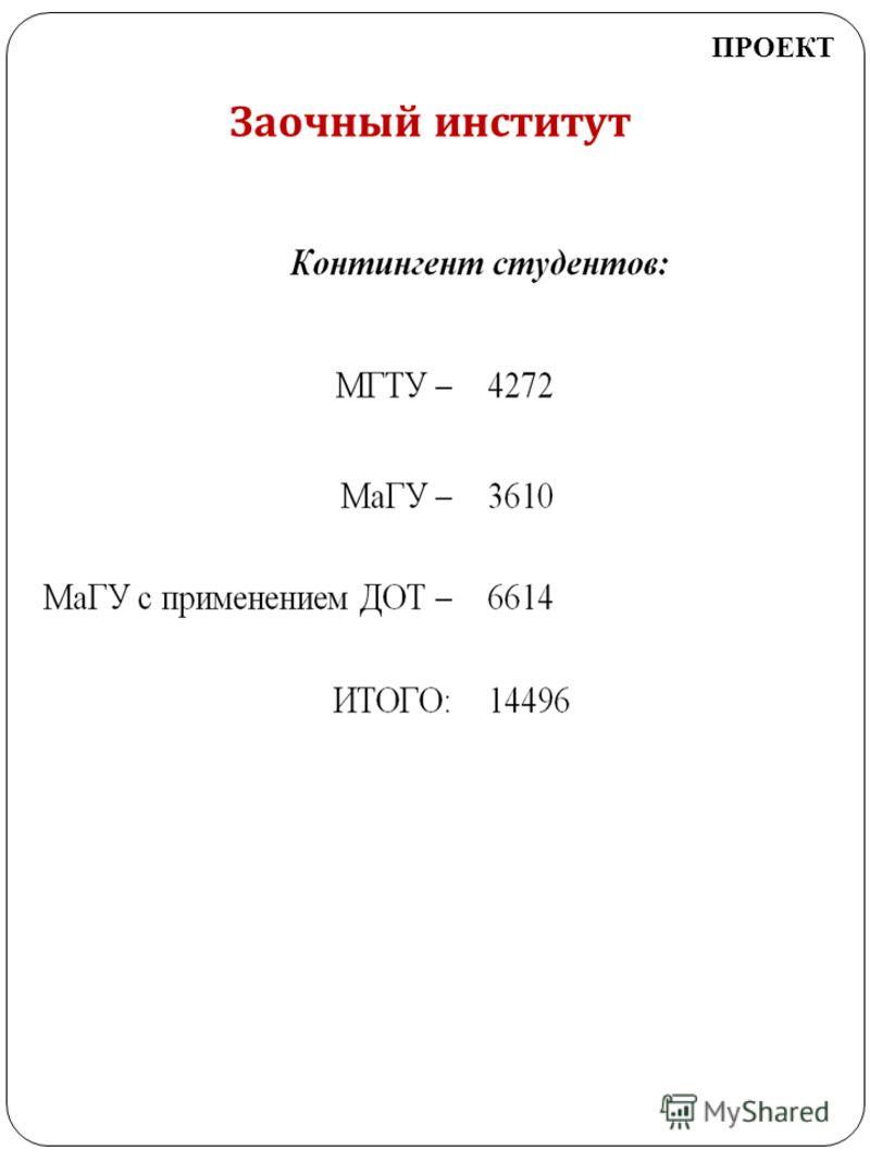 Заочный институт ПРОЕКТ