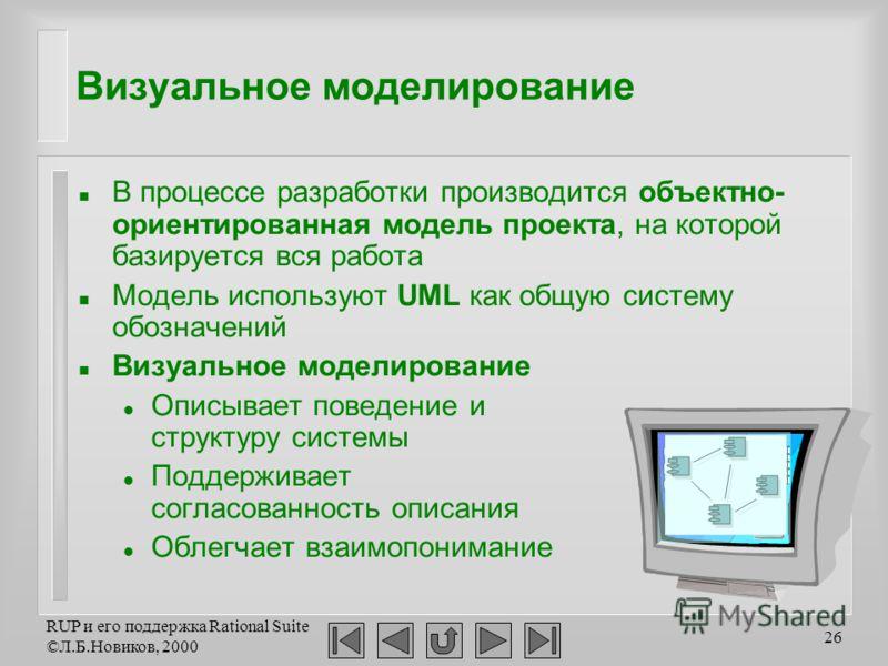 RUP и его поддержка Rational Suite ©Л.Б.Новиков, 2000 26 Визуальное моделирование n В процессе разработки производится объектно- ориентированная модель проекта, на которой базируется вся работа n Модель используют UML как общую систему обозначений n